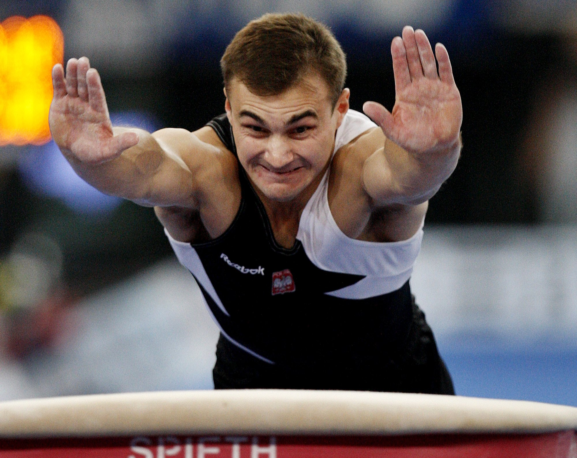 Poland's Leszek Blanik is seen in action to win the gold  medal in the men's vault final at the Gymnastics World Championships in Stuttgart, southern Germany, Sunday Sept. 9, 2007. (AP Photo/Michael Probst)