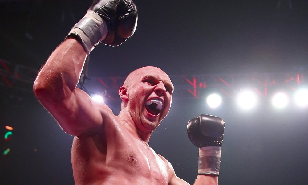 NEWARK, NJ - AUGUST 14:  Krzysztof Glowacki of Poland celebrates after defeated Marco Huck of Germany during the Premier Boxing Champions Cruiserweight bout at the Prudential Center on August 14, 2015 in Newark, New Jersey.  (Photo by Elsa/Getty Images) ORG XMIT: 566236941 ORIG FILE ID: 484053328