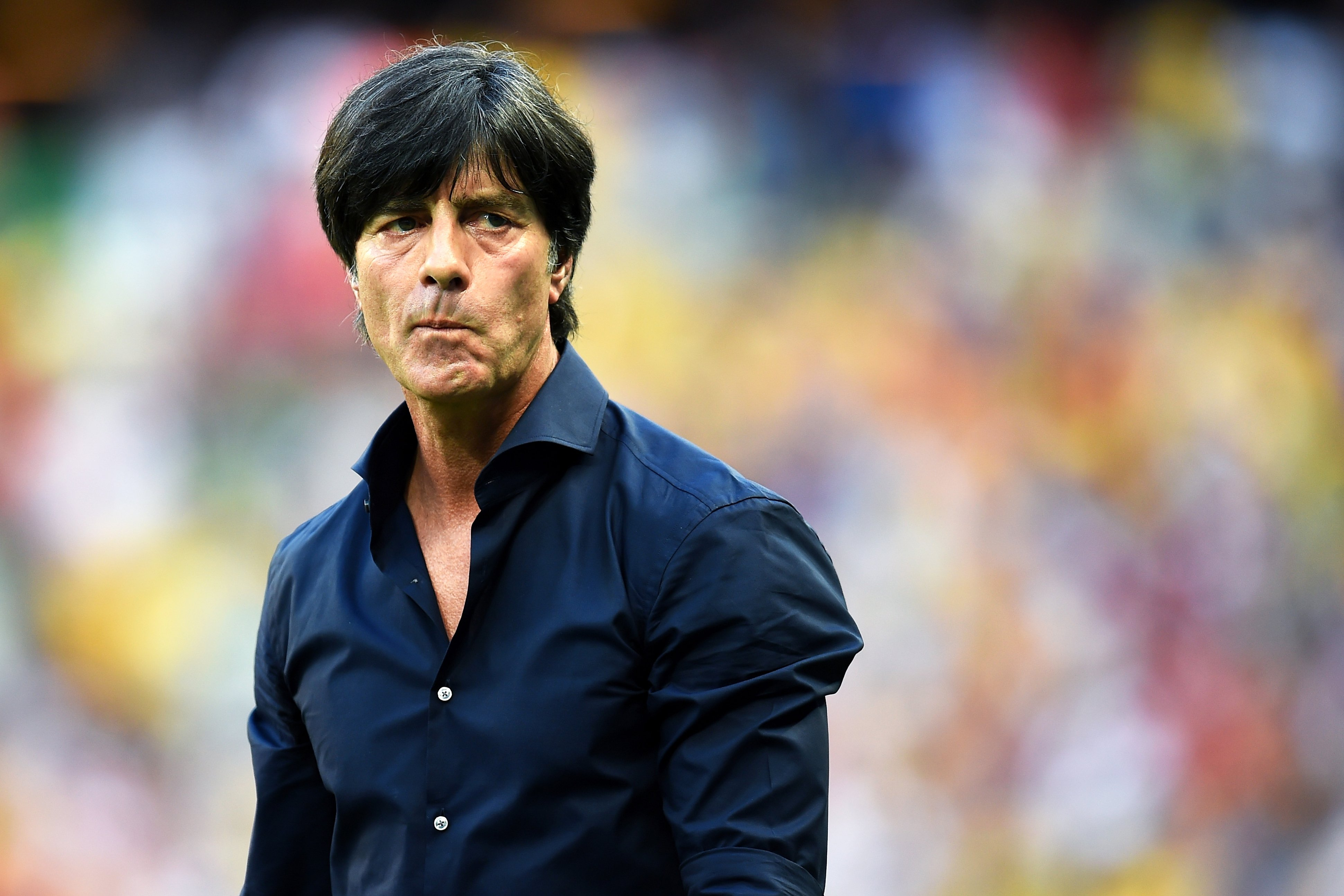 FORTALEZA, BRAZIL - JUNE 21:  Head coach Joachim Loew of Germany looks on during the 2014 FIFA World Cup Brazil Group G match between Germany and Ghana at Castelao on June 21, 2014 in Fortaleza, Brazil.  (Photo by Lars Baron - FIFA/FIFA via Getty Images)