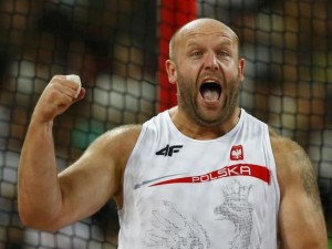 Piotr Malachowski of Poland reacts during the men's discus throw final at the 15th IAAF World Championships at the National Stadium in Beijing, China, August 29, 2015. REUTERS/Kai Pfaffenbach