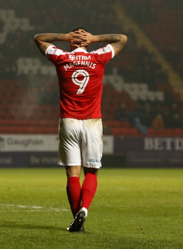 Charlton Athletic's Josh Magennis after a missed chance