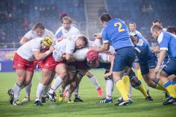 2016.09.25 Lublin Rugby Europe Trophy Polska - Ukraina N/z Mateusz Bartoszek Aleksander Nowicki Piotr Zeszutek Foto Wojciech Szubartowski / PressFocus